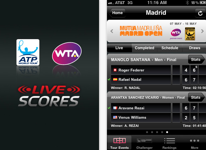 interface de l'application atp / wta live
