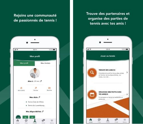 aperçu de l'application de tennis tie break app